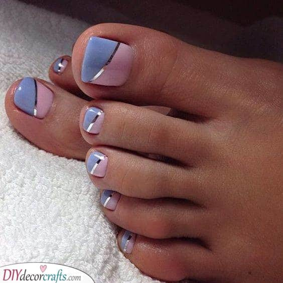 Pink and Blue - Pedicure Nail Designs