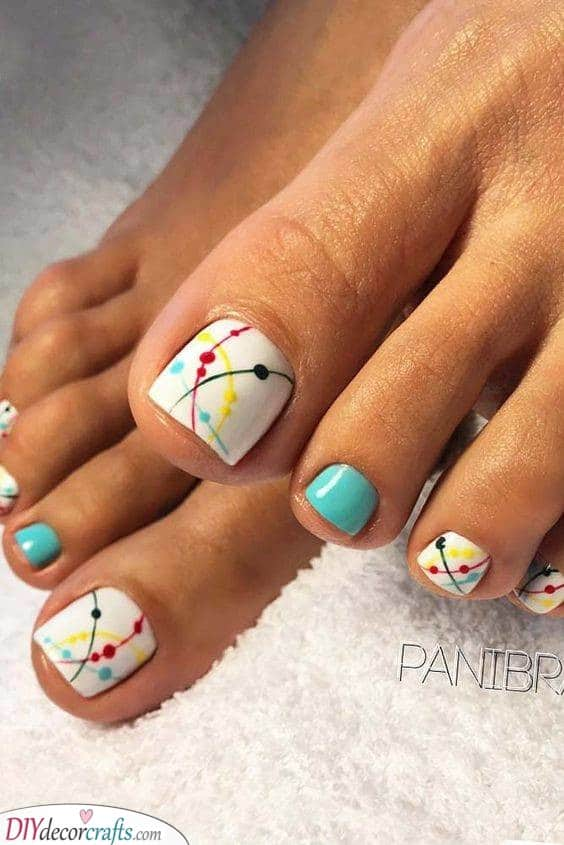 Dots and Lines - Abstract Toenail Ideas