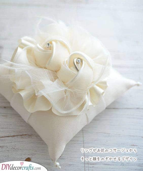 Beautifully Sewn Flowers - Wedding Ring Pillow