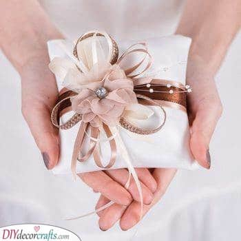 Shades of Brown - Wedding Ring Pillow