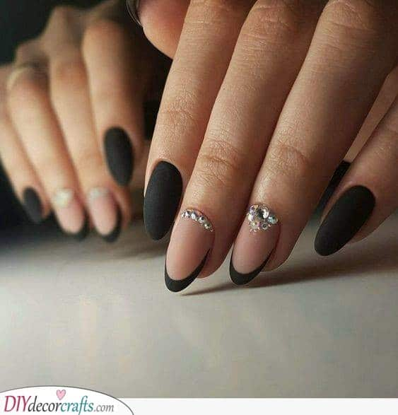 Matte Pink and Black - French Manicure Ideas