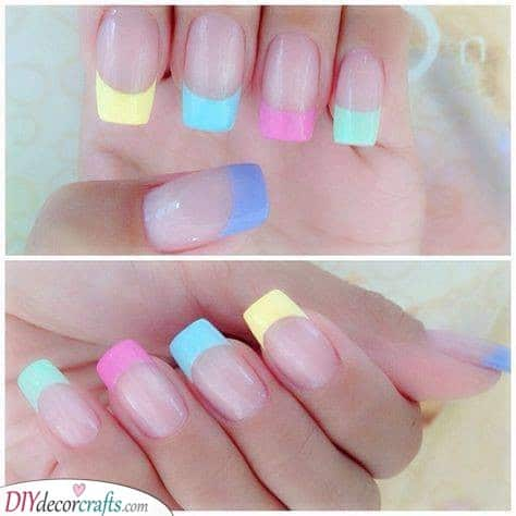 A Rainbow of Colours - Pale Neon Tips