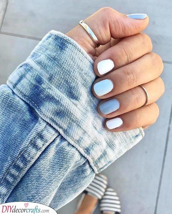 Shades of Blue - Cute Short Nails