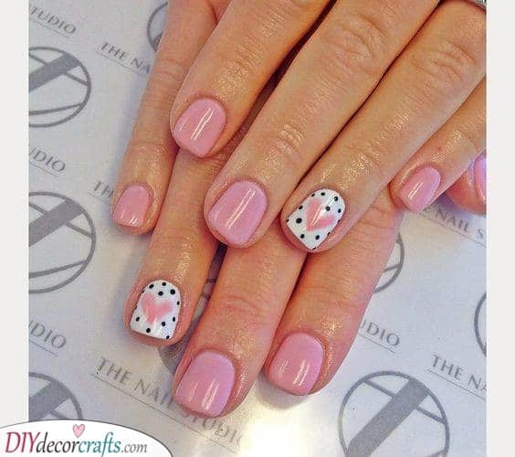 Cute Hearts - Short Nail Designs
