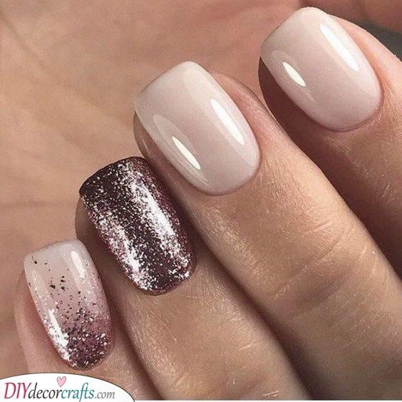 Pretty and Glittery - Short Acrylic Nail Designs