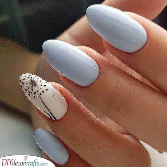 A Minimalist Dandelion - Perfect for Short Almond Shaped Nails
