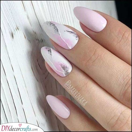 Pink and Marble - Gorgeous Almond Nails
