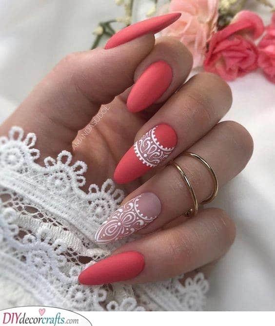 Looks Like Lace - Long Almond Nails