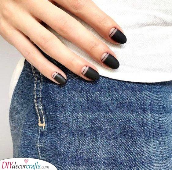 Black With an Edge - Unique Almond Nails