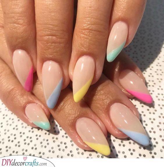 A Pale Rainbow - Almond Nail Designs
