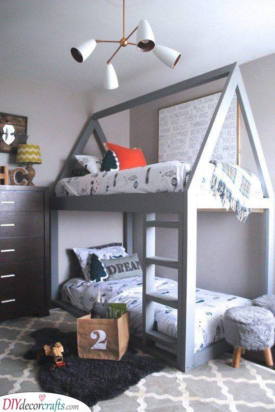 Simple and Grey - Great Inspiration for Boys Rooms