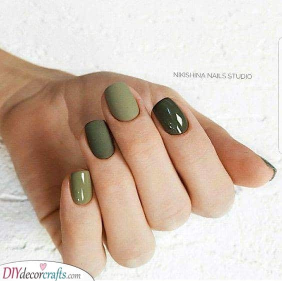 Shades of Green - Gorgeous Fall Nail Designs