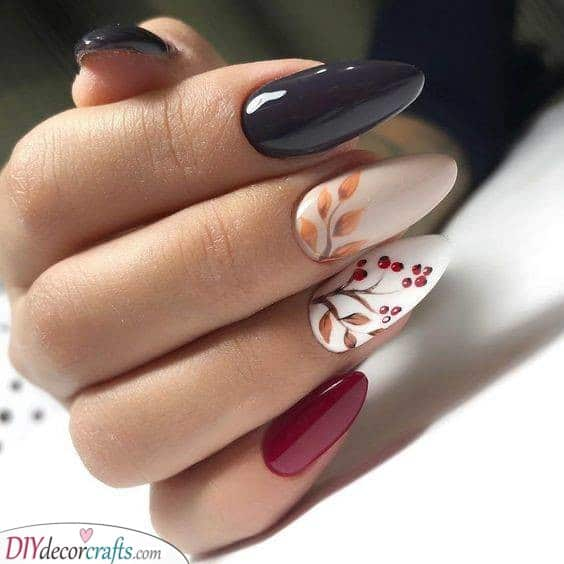 A Branch of Red Berries - Fall Nail Designs