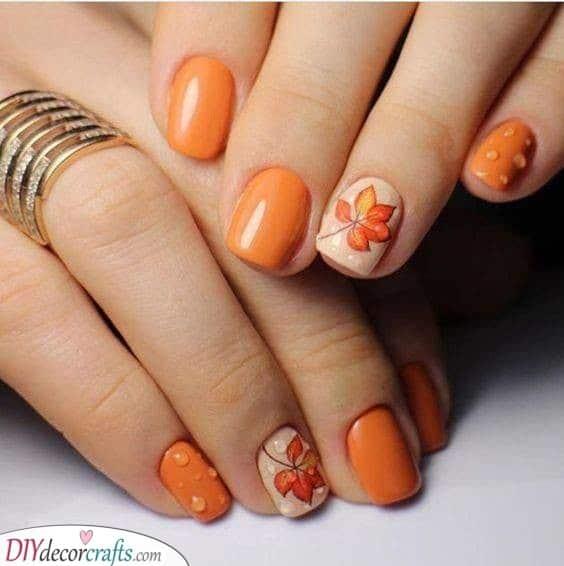 Cute in Orange - Fall Nail Designs
