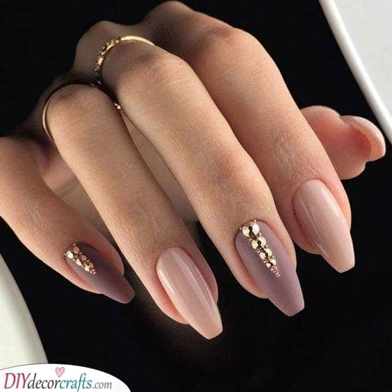 A Matte Mauve - Decorated With Rhinestones