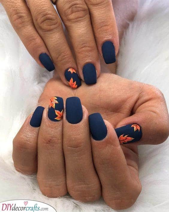 Beautiful Autumn Atmosphere - Navy Blue and Orange