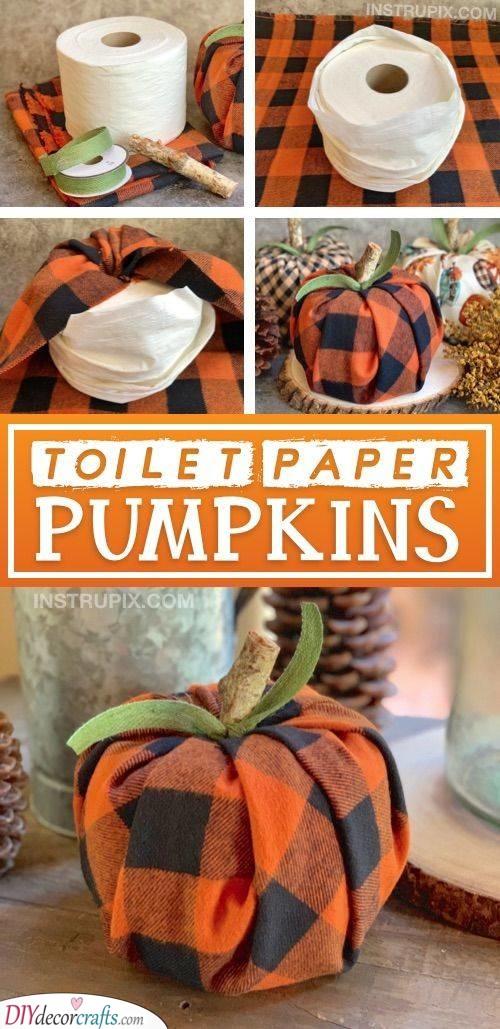 Toilet Paper Pumpkins - Easy DIY Crafts
