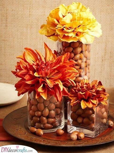 An Abundance of Acorns - Fall Table Centrepieces