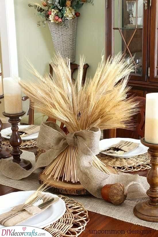 Wheat Bundle Centrepiece - Fall Table Decor Ideas