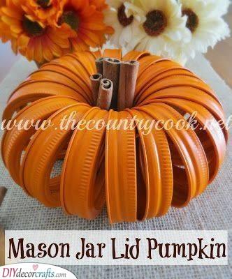 Creative and Funky - Mason Jar Lid Pumpkin