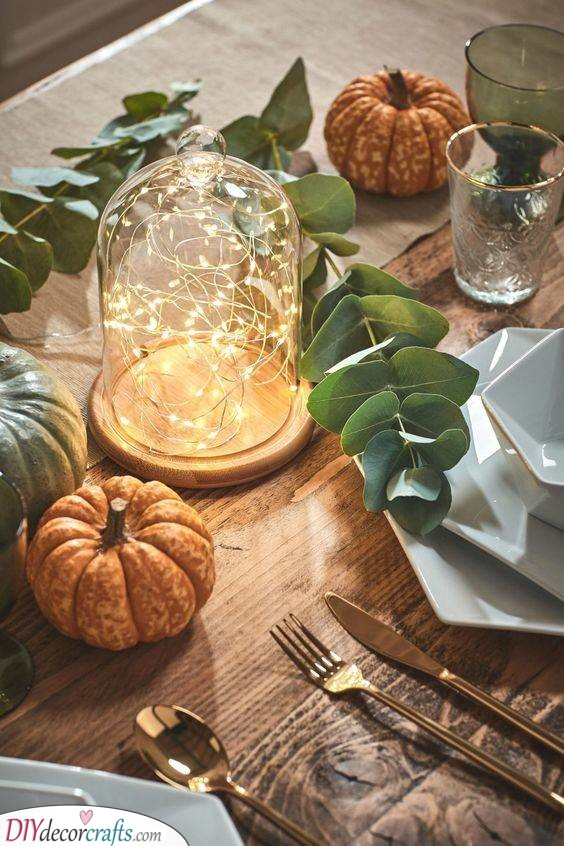 Glass Dome Idea - Fall Table Centrepieces