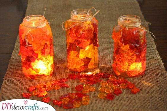 Leafy Lanterns - Fall Table Centrepieces