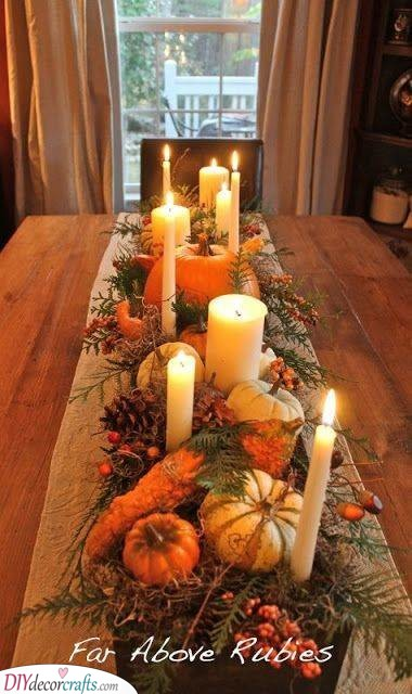 Rustic and Elegant - Fall Table Centrepieces