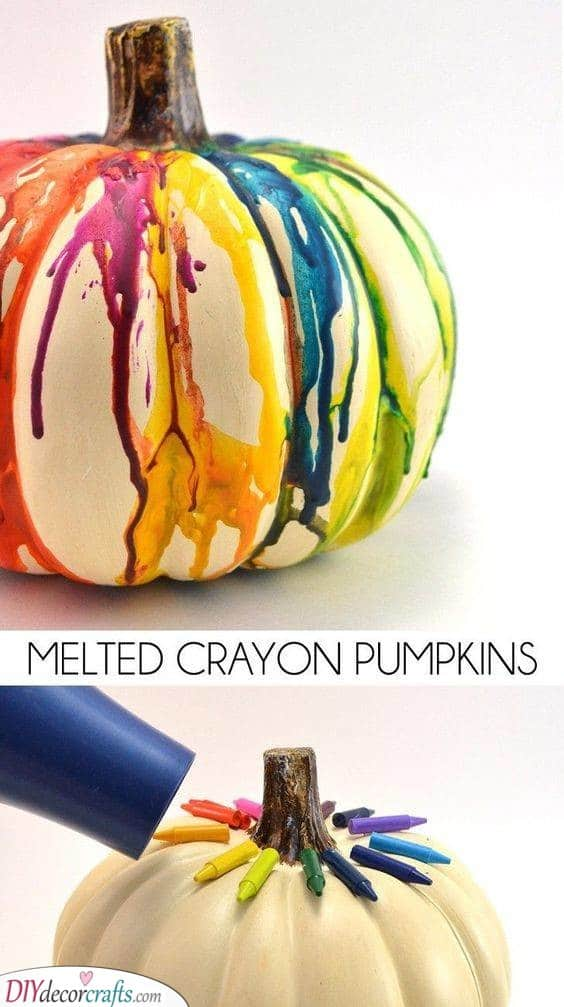 Rainbow Pumpkins – Melted Crayon Trick