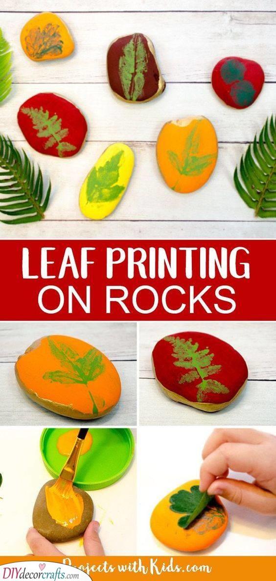 Leaf Painting on Rocks - Simple and Fun