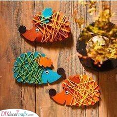 String Art - Easy Fall Crafts for Kids