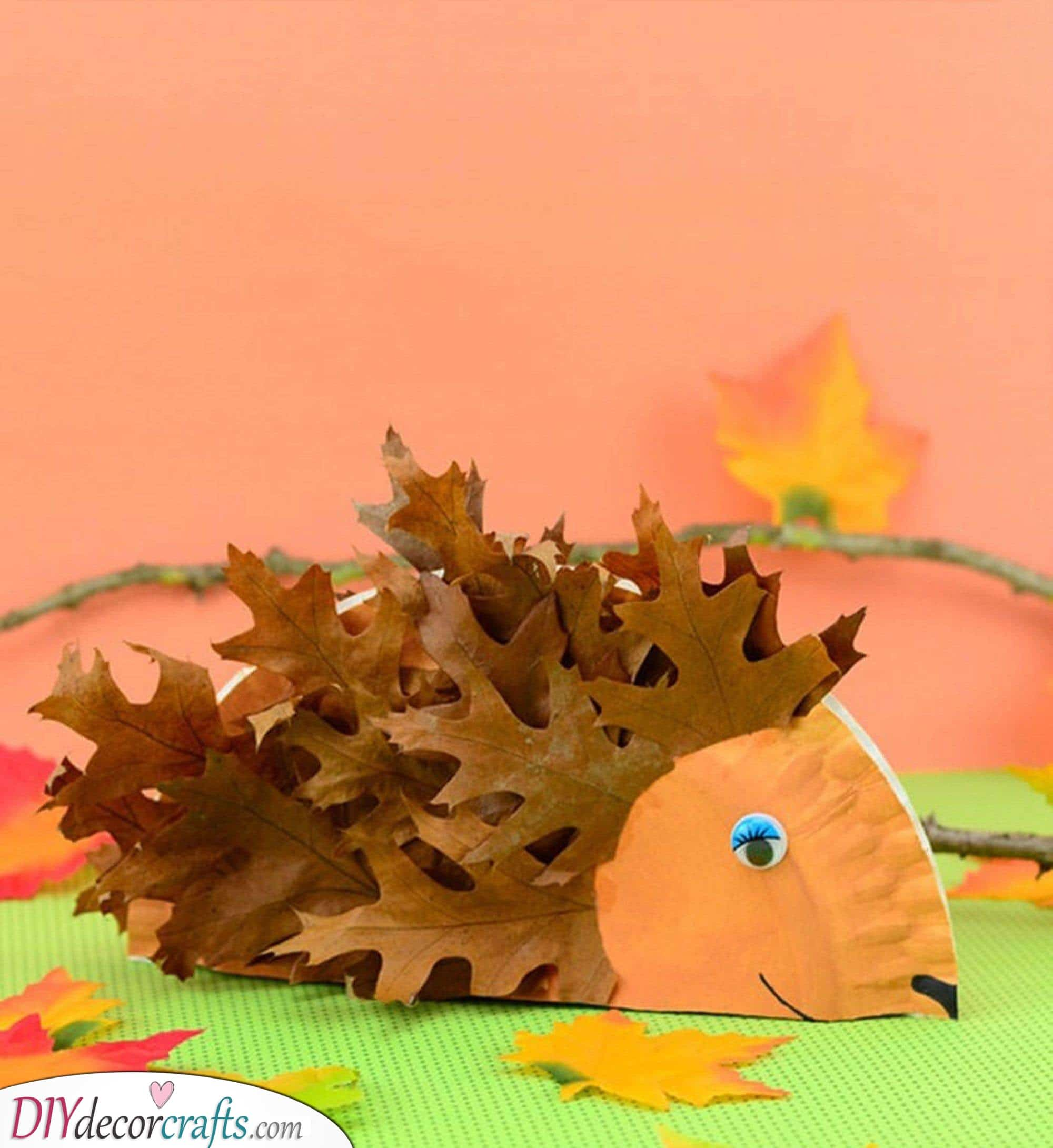 A Leafy Hedgehog - Cute and Easy Fall Crafts for Kids