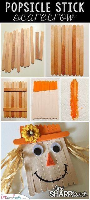 Popsicle Stick Scarecrow – Fall Crafts for Toddlers