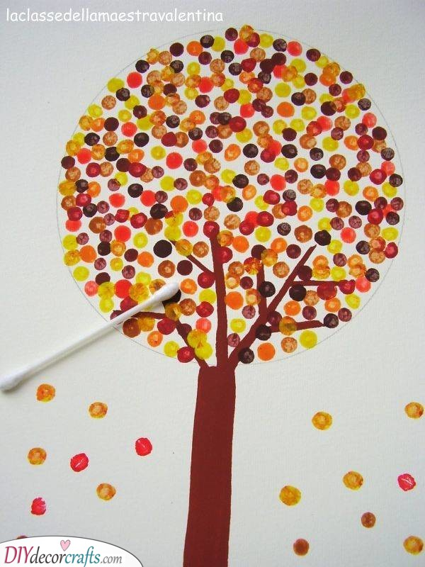 Use Cotton Swabs – Easy Fall Crafts for Kids