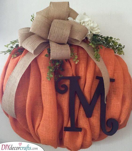 A Burlap Pumpkin - A Happy Ambience