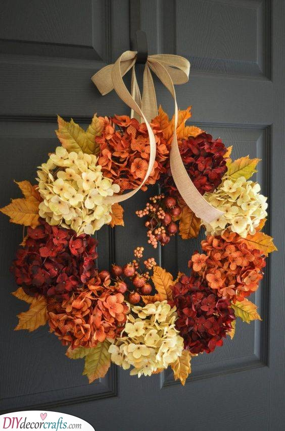 A Variety of Flowers - Lovely Fall Wreaths for Front Door