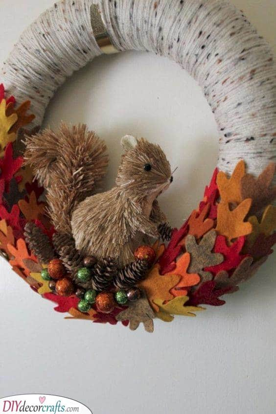 A Cute Squirrel - Unique Fall Wreaths for Front Door