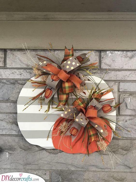 Cardboard Pumpkins - Cute Fall Wreaths for Front Door
