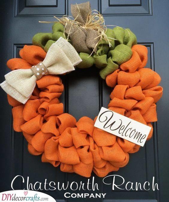 A Cute Pumpkin Idea - Using Burlap