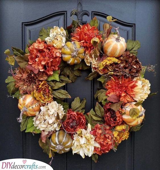 Pumpkins and Flowers - Autumn is Here
