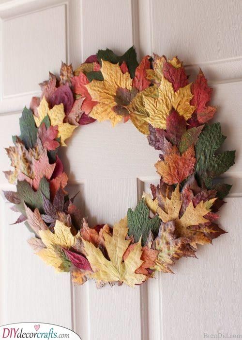 A Foliage of Fall Leaves - Fall Wreath Ideas