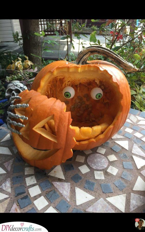 No Brains - Easy Pumpkin Carving Ideas