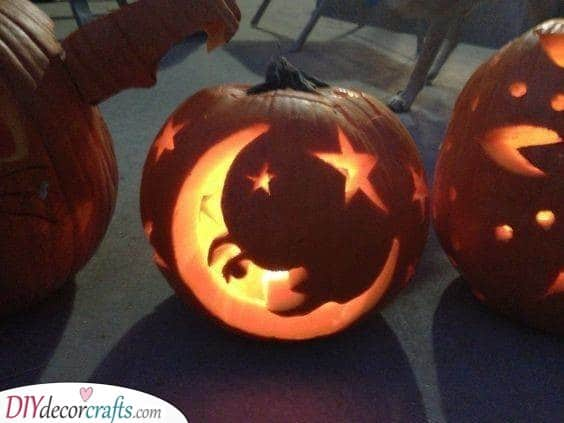 A Moon and Stars - Cosmic and Easy Pumpkin Carving Ideas