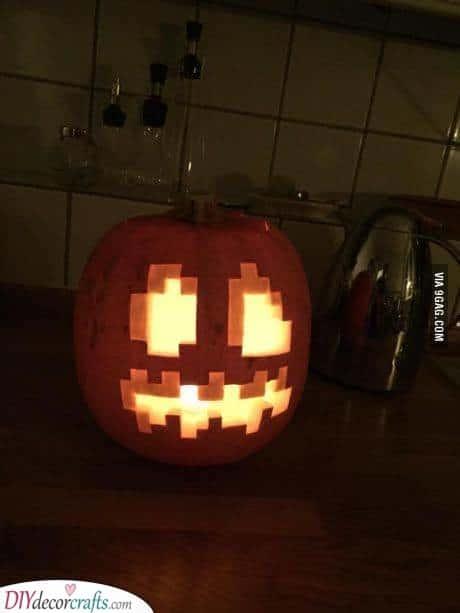Minecraft Pumpkin - Creative Pumpkin Decorating Ideas