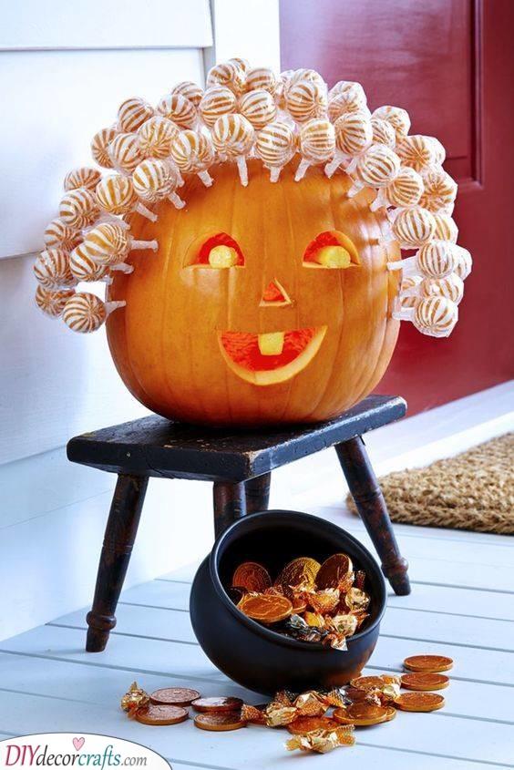Use Some Lollipops - Creative Pumpkin Decorating Ideas
