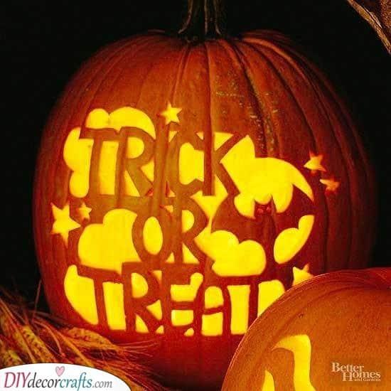 A Trick or Treat Sign - Halloween Pumpkin Carving Ideas