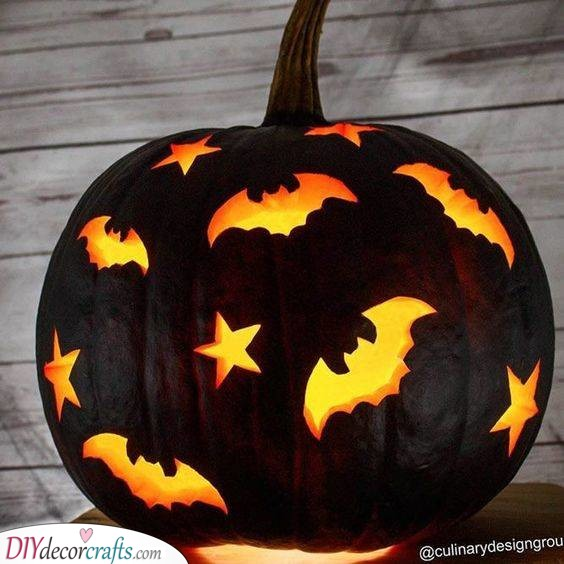 Bats and Stars – Easy Pumpkin Carving Ideas
