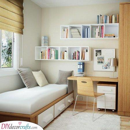 Wall Shelves - Practical Girl Bedroom Ideas for Small Rooms