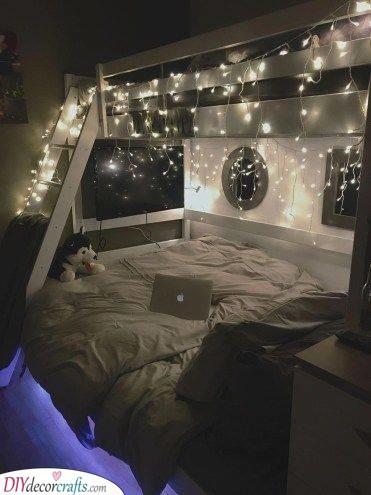 Adding Fairy Lights - Small Bedroom Ideas for Teenage Girl