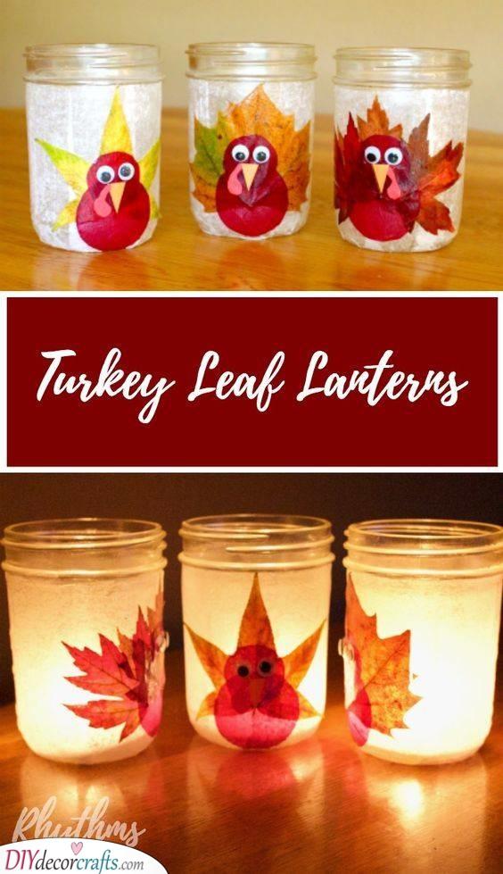 Turkey Leaf Lanterns - Thanksgiving Crafts for Kids