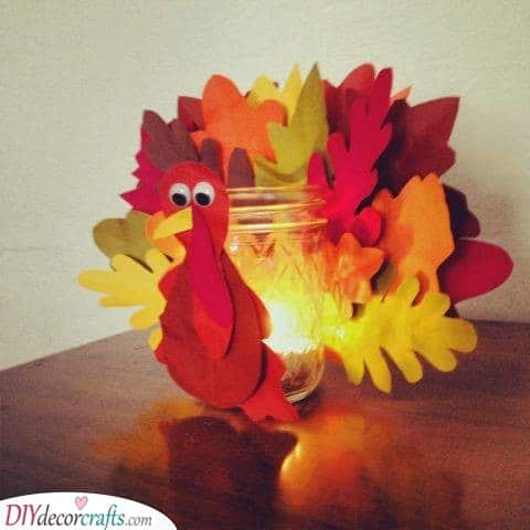 A Turkey Candle Holder - Thanksgiving Crafts for Kids